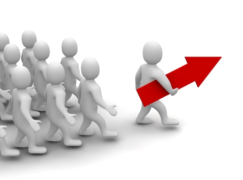 people;e following leader with red arrow